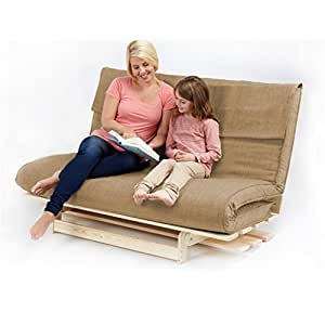 Changing Sofas Textured Fabric Double Complete Futon, Beige