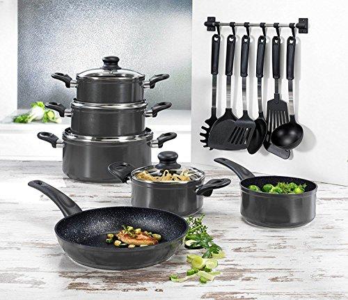 Beem 17-tlg. Multi-Star Topfset Aluminiumguss Kochgeschirr mit 28cm Bratpfanne und Küchenhelferset Grau