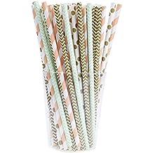 BESTOMZ 100 Stück Blume Papier Trinkhalm Biologisch Papier Strohhalme für Hochzeit Party Dekorationen (4 Farben)