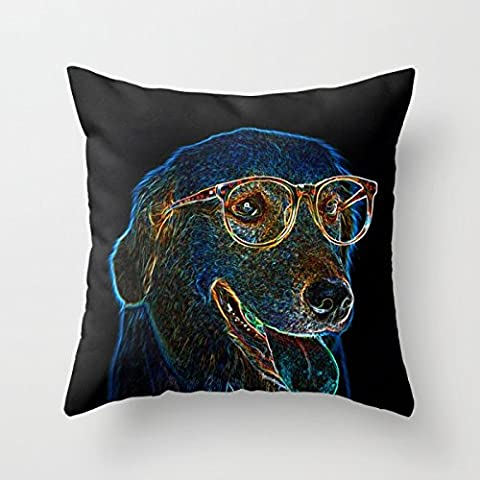 Bestseason Slimmingpiggy Comfortable Bedding Fashion Dog With Glasses 18x18 Inch Pillow case/Kissenbezüge Pillowcover 18 X 18 Inches / 45 By 45 Cm Gift Or Decor For Wife,bench,boys,relatives,home Theater,weddin