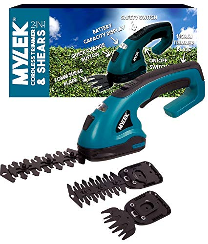 MYLEK 2-in-1 Li-ion Cordless Hedge Trimmer & Grass Shears with 2 Blades, Quick Change Button, Safety