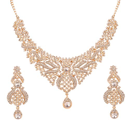 Touchstone New Indian Bollywood Traditional Studded Look Mesmarizing Filigree White Rhinestone Bridal Designer Jewelry Necklace Set In Gold Tone for Women. (Touchstone Crystal Schmuck)