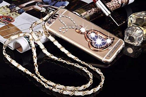 Coque iPhone 6 Plus/6s Plus , iNenk® Foudre Flash Lanyard amour Stent téléphone Shell PC Dur protecteur Transparent perceuse luxe paillettes diamant coeur-bleu