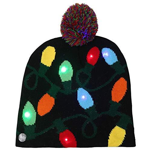 Amorar Weihnachten Hut Erwachsene Kinder LED leuchten Hut Winter Mütze Strickmütze Urlaub Weihnachten Zubehör Weihnachten Beanie Pullover Hässliche Urlaub Hut 3 blinkende Modi (Hässlich Weihnachten Pullover Dekorationen)
