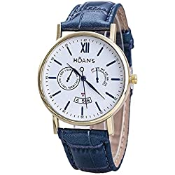 Men Wrist Watches - HUANS Men Rome digital Article Leather Band Quartz Wrist Watches Blue Band+Gold Dial