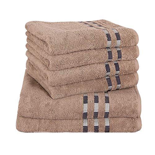 Delindo Lifestyle Handtuch-Serie COLARES Cedar - braun, 6-Teiliges Handtuch Set, 2 Badetücher und 4 Handtücher, 100% Baumwolle -