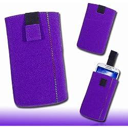 Étui de protection en feutre pour téléphone portable violet taille m65 pour hTC sensation/sensation xE/desire hD, desire s/incredible s/hD7, hTC 7 mozart trophy/eVO 3D