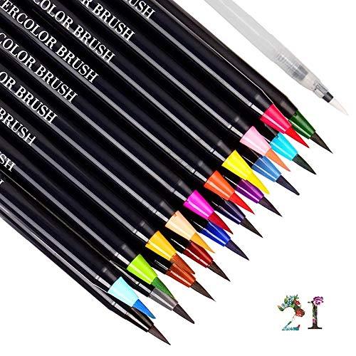 te Set 20 Watercolor Pinsel + 1 Wassertankpinsel Wasserfarben Stifte Aquarell Effekte für Art Marker Filzstifte Kalligrafie, Färbung oder Manga ()