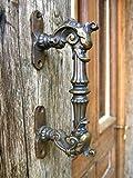 Antikas | Türgriff aus Eisen mit Fabelwesen | ausdrucksstarker Haustür-Griff im Gründerzeit-Stil
