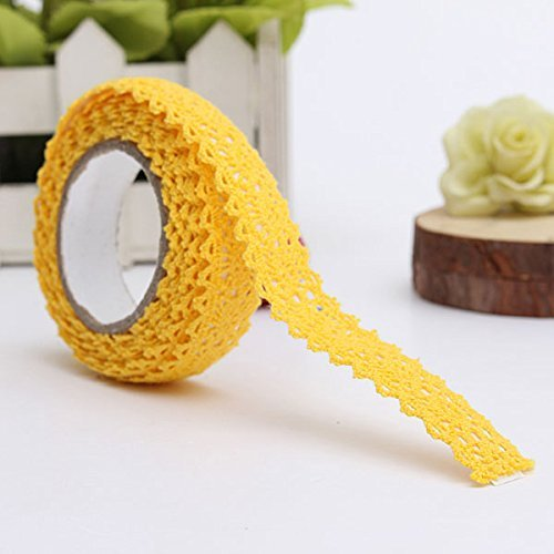 Gleader Ribbon Lace Ribbon Fabric Ribbon Wedding Wallpaper Border Christmas Wrapping (yellow) (Border)