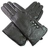 Damen Premium Qualität Original Superweich Leder Handschuhe Kunstpelz Futter Winter Alltag Warm - Dunkelgrün, L