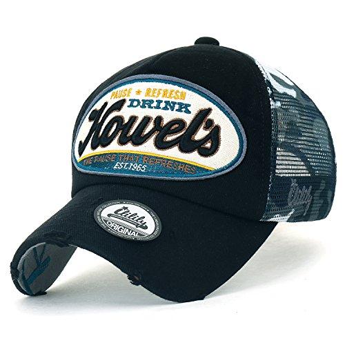 ililily Howel's Tarnkleidung (Camouflage) Baseball Netz Cap abgenutztes Aussehen klassischer Stil Trucker Cap Hut (Medium, Black)