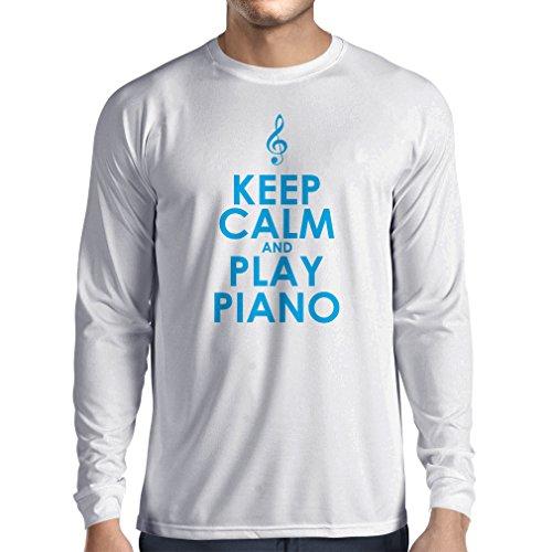 Langarm Herren t shirts Klavier - Musiker zitiert (XXX-Large Weiß Blau)