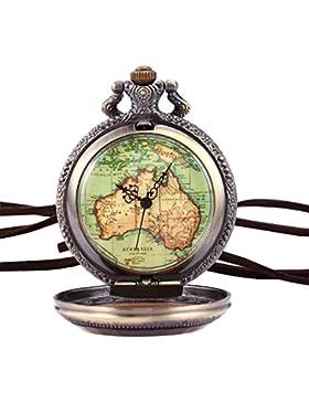 AMPM24 Australien Karte Taschenuhr Analog Quarz Uhr Bronze Ketteuhr Unisex + AMPM24 Geschenkbox WPK131