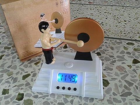 KHSKX Gong radio-réveil Bruce Lee horloges de veilleur de nuit les gens paresseux battant le Gong clock