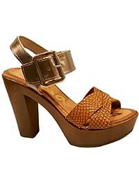 Oh my Sandals - Sandalia de tacón hecha en Piel - 3695 - Cava y marrón Roble