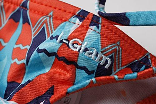 I-Glam Brasilianischer Bikini, Oberteil und Tanga Orange with Blue Print