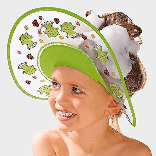 Badabulle Shampoo-Schutzschild Frosch - wasserdichte Badekappe für Kleinkinder - schützt Kinder vor nassen Augen - größenverstellbar - grün -