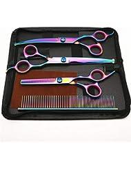 Cvthfyk Five-piece Color Hairdressing Scissors (bending Shears/Straight Shears/Dental Scissors/Comb/Leather Bag/Send Wipes) (Color : 5 piece set)