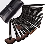 NK's Store 32 Stück Professionelle Kosmetik Holz Griff Make-up Pinsel Set Kit Tools Foundation Augen Lidschatten Eyeliner Bronzer mit Superior Soft PU-Leder-Tasche.