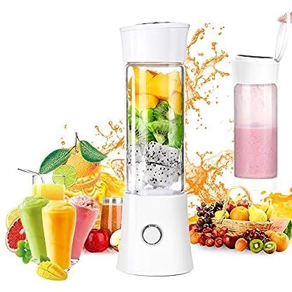 Mini-Smoothie-MixerLATIT-Mini-Standmixer-480ML-Tragbar-Entsafter-mit-6-Edelstahlmesser-Mini-BlenderUSB-Wiederaufladbar-Mini-Smoothie-Maker-fr-Smoothie-Saft-Milkshake-Reise-Haus-Sport