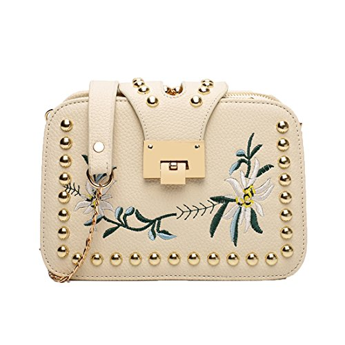 GWELL Damen Handtasche Pu Leder mit Nieten Blumen Stickerei Mini Quadratische Umhängetasche Kettentasche Abendhandtasche weiß weiß