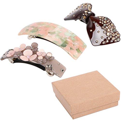 kilofly Lot de 3 Classic Pince à cheveux Barrette queue de cheval Accent broches Value Pack + Boîte Cadeau