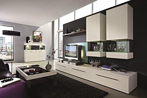 Design Wohnwand 7-teilig, mit Glasvitrinen, - Weiß ML / Esche Grau Nachbildung, Soft Close-Dämpfung, Selbsteinzug, Wohngalerie Zerlegt