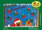 Fischer Fensterbild WEIHNACHTSTEDDY / Bastelpackung / Größe: Teddy 39x21 cm, Sack 23x18 cm, Kugeln 16x12 cm / zum Selberbasteln / Basteln zu Weihnachten aus Papier und Pappe