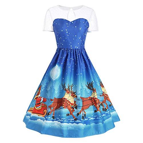 Beikoard Damen Weihnachten Elch Print Retro großes Kleid O Neck Abendkleid Cocktail Kleider Freizeit Kleider Elegant Kleider