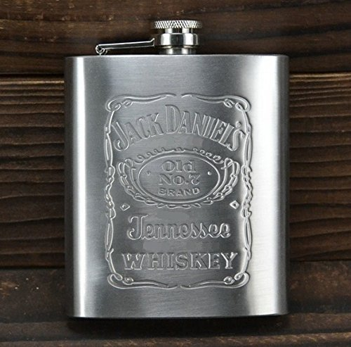 BOOSTY Jack Daniel'S Design Embossed 8 Oz (230 Ml) Stainless Steel Hip Flask - Alcoholic Beverage Holder ...  available at amazon for Rs.175