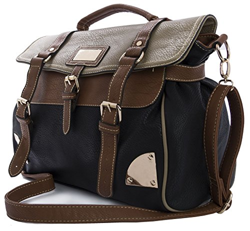 Big Handbag Shop Damen Handtasche, Messenger Bag, Kunstleder Medium Tan