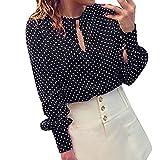 Culater® Mujeres Casual manga larga Blusas gasa lunares camiseta