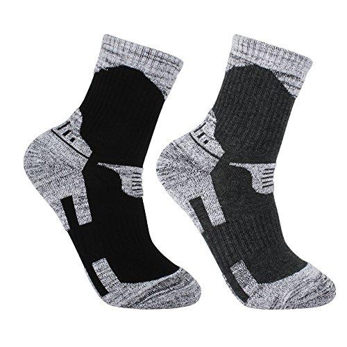 Baumwolle Socken Wandern (YUEDGE 2 Paar Herren Wandersocken Atmungsaktiv Wicking Multi-Performance Baumwoll Socken Für Wandern Trekking Camping Outdoor Sport (Schwarz&Grau XL))