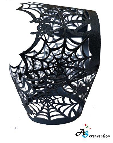A & S creavention Vine Cupcake Halter filigranen Vine Design Decor Wrapper-Packungen Cupcake Muffin Papier-Inhaber-50 Black Spider