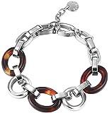Esprit S.ESBR11607A180 Women's Bracelet Stainless Steel Rhodium Plated Plastic Tortoise Left 18 cm