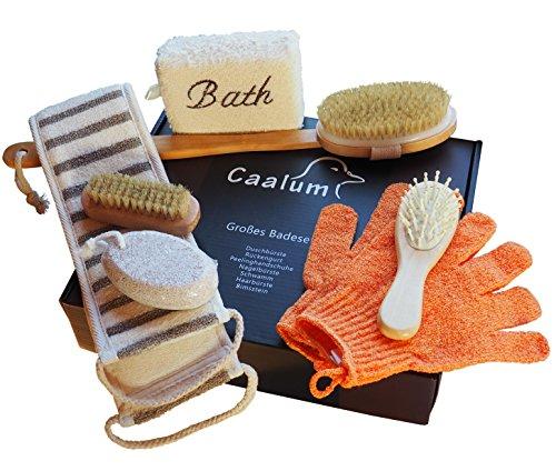 Badeset Wellness-Set Geschenkset fürs Bad, Badebürste mit langem Stiel, Haarbürste Bimsstein Peelinghandschuhe Schwamm Massagegurt Nagelbürste