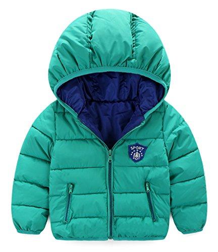 Bigood Doudoune Courte Epaise Manteaux Blousons A Capuche Uni de Chaud Hiver pour Enfant Unisexe Outdoor Vert 110