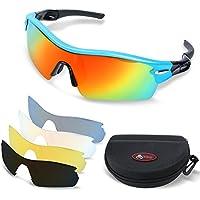 TOREGE, occhiali da sole polarizzati, occhiali da running, per uomo, ciclismo, pesca, golf, TR033, White/Black tips&Red lens