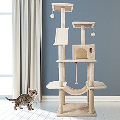 PURLOVE® Large Cat Tree Cat Scratcher Activity Centre Scratching Post Climbing Tower Tree with Cat Toys Mouse