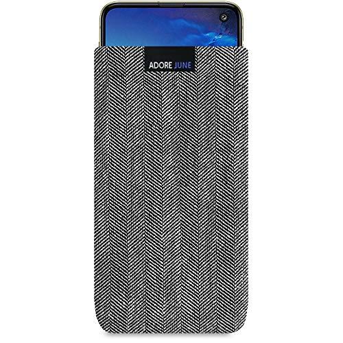 Adore June Business Tasche für Samsung Galaxy S10e Handytasche aus charakteristischem Fischgrat Stoff - Grau/Schwarz | Schutztasche Zubehör mit Bildschirm Reinigungs-Effekt | Made in Europe