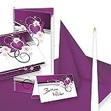 Einladung+Tischdeko Set Hochzeit Herzen (64 Gäste) Komplett-Set lila weiß für Hochzeit - fein abgstimmt mit Einladungskarten, Menükarten, Tischkarten, Kerzen, Servietten etc.