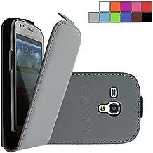 COOVY® COVER CASE CUBIERTA DELGADO FUNDA PROTECTORA CON TAPA PARA Samsung Galaxy S3 MINI GT-i8200 GT-i8190 GT-i8195 con lámina projoectora de pantalla color gris
