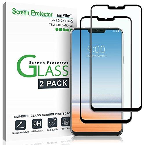 amFilm Panzerglas Bildschirmschutzfolie für LG G7 ThinQ (2 Stück), Vollständige Abdeckung Glas Schutzfolie für LG G7 (Schwarz)