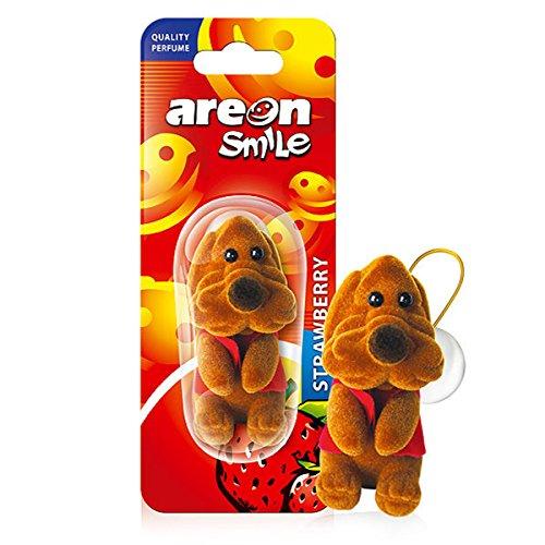 AREON Smile Deodorante Auto Fragola Cane Marrone Divertente da Appendere Specchietto Retrovisore Simpatico 3D (Confezione da 1)