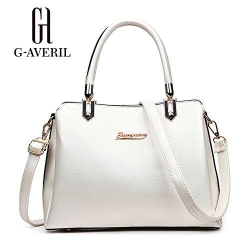 (G-AVERIL) 2018 alta qualità PU pelle Donna borsa Designer Bag Fashion Borsa a Spalla Borse a Mano bianco