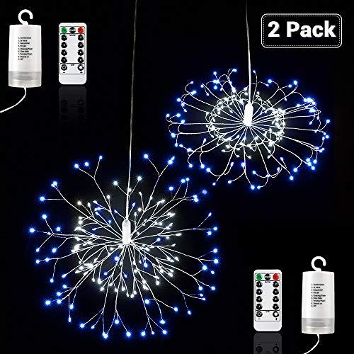 Qedertek Lot de 2 Guirlande Lumineuse à Piles avec Télécommande 150 LED Lumière de Feux d'artifice avec 8 Modes pour Décoration Jardin, Mariage, Fête (Bleu & Blanc)