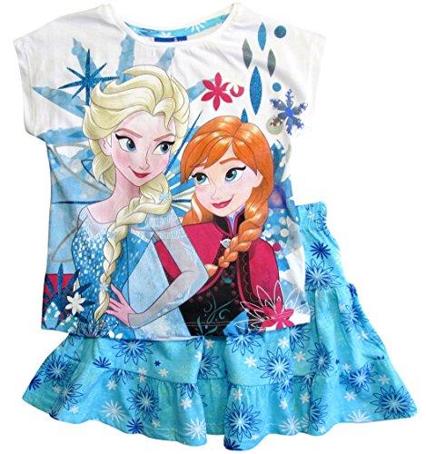 Frozen - Die Eiskönigin T-Shirt und Rock Kollektion 2018 Set 98 104 110 116 122 128 Mädchen Kurzarmshirt ELSA Disney (Weiß-Blau, 128)