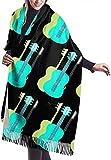 xianjing6 Women Pashmina Wrap Scarf Green Blue Guitar Womens Scarf Large Soft Silky Pashmina Cashmere Shawl Wrap