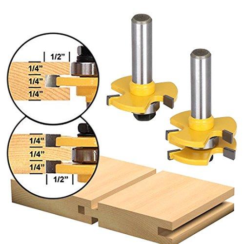 SUPAREE Zunge und Nut Set, Router Bit Set, Holz Tür Bodenbelag 3 Zähne einstellbar, 1/2 Zoll Schaft T Form Holz Fräser Holzbearbeitungswerkzeug (2 Stücke)